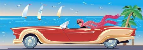 La muchacha en el coche en la costa del mar Imagenes de archivo