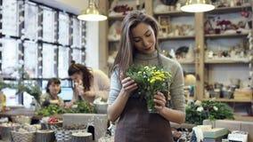 La muchacha en el delantal que sostiene un pequeño ramo de flores en un tarro de cristal, mira las flores almacen de video