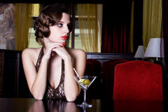 La muchacha en el restaurante Imagen de archivo