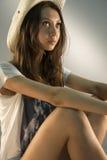 La muchacha en el sombrero Imagen de archivo
