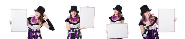 La muchacha en el traje del arlequín aislado en blanco Imágenes de archivo libres de regalías