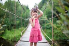 La muchacha en el vestido rosado en el puente Imagen de archivo