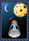 La muchacha en espacio Imagen de archivo libre de regalías