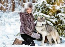La muchacha en la capa gris que se sienta al lado de un perro fornido gris en los wi Imagen de archivo libre de regalías