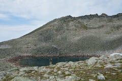 La muchacha en la orilla de la piedra del lago foto de archivo