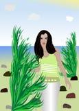La muchacha en la playa Fotos de archivo libres de regalías
