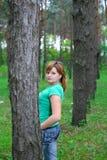 La muchacha en las maderas Foto de archivo libre de regalías
