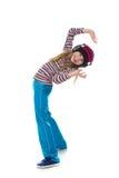 La muchacha en los auriculares que bailan a la música Imagen de archivo