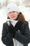 La muchacha en los esquís. Fotos de archivo libres de regalías