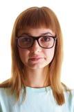 La muchacha en los vidrios grandes Imágenes de archivo libres de regalías