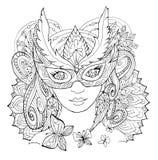 La muchacha en la máscara Fotografía de archivo libre de regalías