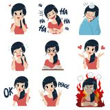 La muchacha en muchos gestos stock de ilustración