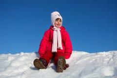 La muchacha en nieve Imágenes de archivo libres de regalías
