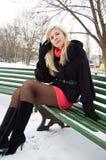 La muchacha en parque del invierno en un banco imagenes de archivo