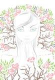 La muchacha en rezo stock de ilustración