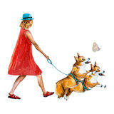 La muchacha en rojo y perros Imagen de archivo libre de regalías