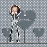 La muchacha en un fondo azul y corazones Stock de ilustración