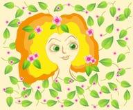 La muchacha en un fondo florece y las hojas Imagenes de archivo
