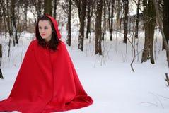 Capa con capucha roja en el bosque del invierno Imágenes de archivo libres de regalías