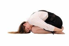 La muchacha en un suelo en mán humor Imagen de archivo