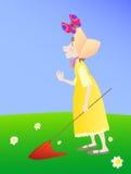 La muchacha en una alineada amarilla con una red Foto de archivo libre de regalías