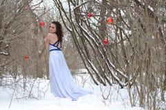 La muchacha en una alineada en el invierno Fotografía de archivo libre de regalías