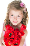 La muchacha en una alineada rosada Foto de archivo