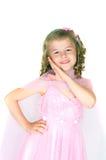 La muchacha en una alineada rosada Imagen de archivo
