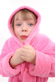 La muchacha en una bata. Ha congelado Fotografía de archivo libre de regalías