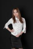 La muchacha en una blusa blanca Fotografía de archivo libre de regalías