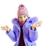 La muchacha en una chaqueta caliente Foto de archivo libre de regalías