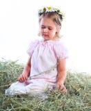 La muchacha en una guirnalda de camomiles del campo Imagen de archivo libre de regalías