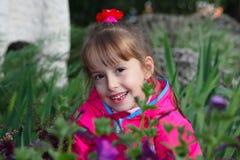 La muchacha en una hierba Imagen de archivo libre de regalías