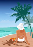 La muchacha en una playa stock de ilustración