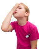 La muchacha enferma con el termómetro médico. Fotos de archivo libres de regalías