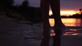 La muchacha entra en el agua en la puesta del sol ciérrese para arriba de los pies de la muchacha metrajes