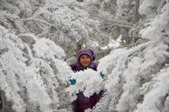 La muchacha entre ramas nevadas Imagen de archivo libre de regalías