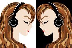La muchacha escucha la música ilustración del vector