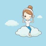 La muchacha escucha musice en la nube Imagen de archivo