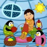 La muchacha esquimal hace punto el suéter para el pingüino ilustración del vector
