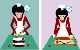 La muchacha está cocinando Imagen de archivo libre de regalías