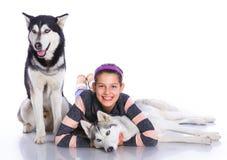La muchacha está con sus perros fornidos Foto de archivo libre de regalías