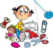 La muchacha está cosiendo la ropa ilustración del vector