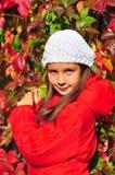 La muchacha está en un parque del otoño Fotos de archivo libres de regalías