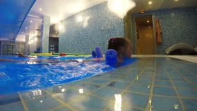 La muchacha está entrenando en la piscina usando el equipo de deportes acuáticos almacen de video