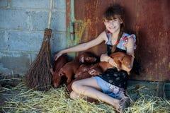La muchacha está jugando con los cerdos recién nacidos rojos de la raza del Duroc-Jersey El concepto de cuidar y de cuidar para l foto de archivo