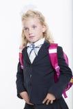La muchacha está lista por nuevo año escolar Fotos de archivo libres de regalías