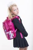 La muchacha está lista por nuevo año escolar Fotos de archivo
