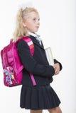 La muchacha está lista por nuevo año escolar Imagenes de archivo