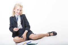 La muchacha está lista por nuevo año escolar Imagen de archivo libre de regalías
